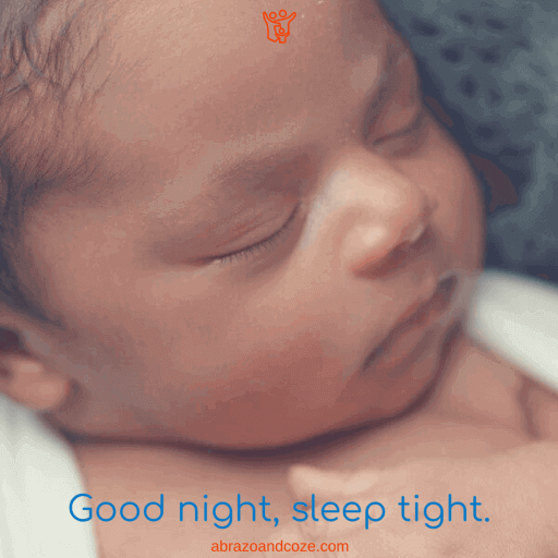 Good night, sleep tight (blue text over photo of sleeping infant head shot)