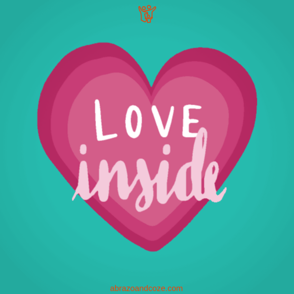 Love (white block cap text) inside (script font in light pink) over an ombre dark rose coloured heart on a teal background.