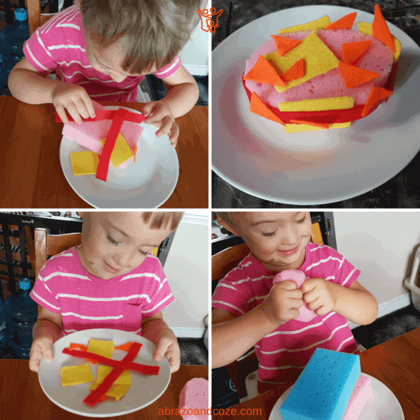 Fun and super simple sponge and felt cake craft being put together and played with in a series of 4 photos in a collage.