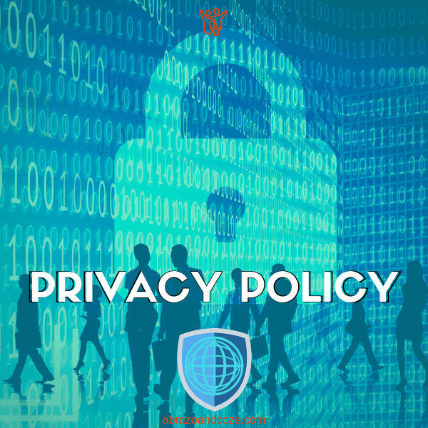 Privacy Policy (binary and padlock in shades of blue, with blue shield overlaid with internet globe)