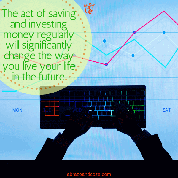 The act of saving and investing money regularly will significantly change the way you live your life in the future. Once you understand the difference between investment and savings accounts you will be clicking away on your keyboard, watching the growth of your investments over time, as depicted in the image.