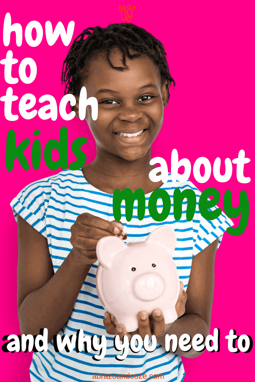 How to Teach Kids About Money: and why you need to. Have your kids happily saving and spending their money wisely, like the girl in this pic. Follow these easy tips to ensure they have the money skills they need to go out successfully into the world after high school.