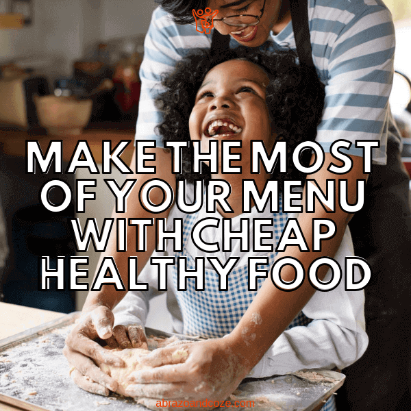 Make the Most of you Menu With Cheap Healthy Food. Your children will be smiling like the boy in this photo, as they help you prepare meals, or simply eat the cheap healthy food you make for them. Save your money and learn how to buy cheap healthy food.